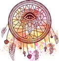American Indian talisman dreamcatcher with eye Royalty Free Stock Photo