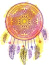 American Indian talisman dreamcatcher. Vector Royalty Free Stock Photo