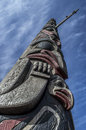 American indian totem low angel view of traditional wooden in seattle Royalty Free Stock Photography