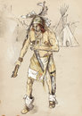 American indian on the warpath dug battle axe hand drawing converted into Stock Photo