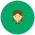 American indian women cute icon in trendy flat style isolated on color background.