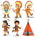 American indians illustration of red Royalty Free Stock Photos