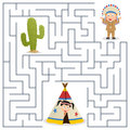 American indians maze for kids or natives game children help the indian chief find the way to return to the camp eps file Royalty Free Stock Photos