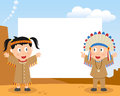 American indians photo frame post card or page for your scrapbook subject two cartoon boy and girl in a wild west landscape Royalty Free Stock Image