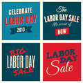 American labor day collection a set of retro typographic design cards for the us Stock Image