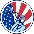 American Lady Holding Scales of Justice Flag retro Royalty Free Stock Photo