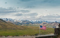 American landscape flag with denali national park Royalty Free Stock Photo