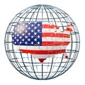The USA map on the Earth Globe. 3D rendering Royalty Free Stock Photo