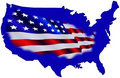 American map and flag Royalty Free Stock Photo