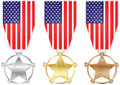 American medal silver bronze and gold Stock Photos
