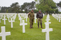 American Military Cemetery near Omaha Beach at Colleville sur Mer as historic site of 1944 D-Day Allied landings at Normandy Franc Royalty Free Stock Photo
