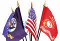 American and Military Flags Stock Photo