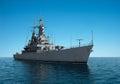 American Modern Warship In The High Seas