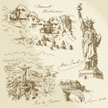 American monuments hand drawn collection Royalty Free Stock Images