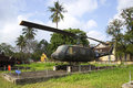 American multi-purpose helicopter Bell UH-1 Iroquois at the Museum of the city of Hue. Vietnam Royalty Free Stock Photo