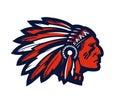 American native chief head mascot. Vector logo or icon Royalty Free Stock Photo