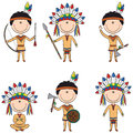 American native costume boys smart in indians costumes Royalty Free Stock Photo