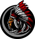 American Native Indian Chief Mascot Head Graphic Stock Image