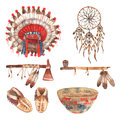 American native objects pictograms set watercolor Royalty Free Stock Photo