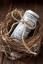American nest egg money a with a roll of on a wood background Stock Photos