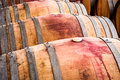 American oak barrels with red wine. Traditional wine cellar Royalty Free Stock Photo