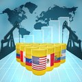 American oil power barrels with the flags of countries on the world map with derricks and growth chart Stock Images