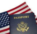 American Passport & Flag Royalty Free Stock Photo