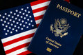 American Passport & Flag on Black Royalty Free Stock Photo