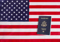 American Passport With USA Flag Royalty Free Stock Photo