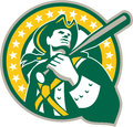 American patriot baseball player green gold retro illustration of an batter holding bat on shoulder set inside circle with stars Royalty Free Stock Photos