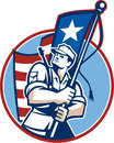 American patriot serviceman soldier flag retro illustration of an solider military looking up holding a usa stars and stripes in Stock Image