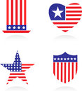 American patriotic symbols set - 1 Royalty Free Stock Photo