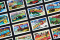 American postcards on postage stamps of several states reproduced Royalty Free Stock Images