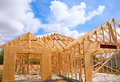 American residential wooden house contruction construction detail in blue sunny day sky Stock Photo