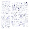 American russian and french symbols hand drawn Royalty Free Stock Photography