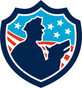 American security guard with police dog shield illustration of a silhouette of a policeman stars and stripes set inside done Stock Images