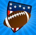 American shield football on blue background Stock Photography