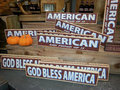 American signs an autumn display at a roadside farmers market displayed showing pride Royalty Free Stock Image