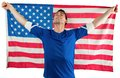 American soccer fan holding flag on white background Royalty Free Stock Image
