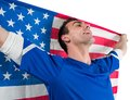 American soccer fan holding flag on white background Stock Photography