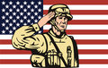 American soldier saluting flag Stock Photo
