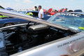 American sportscar engine bay view of under hood classic pontiac firebird trans am sports car pace car at carshow event memorial Royalty Free Stock Photography
