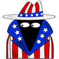 American spy cartoon illustration showing a dressed in clothes with the colors of the united states flag Royalty Free Stock Photos
