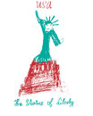 American statue of liberty USA illustration kid style illustration