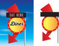 American style retro vintage 1950s diner signs Royalty Free Stock Photo