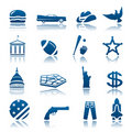 American symbols icon set Royalty Free Stock Photo