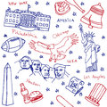 American symbols and icons seamless pattern red blue Stock Photo