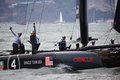 American Team waves in the America's Cup races Stock Photos