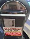American travel and car parking meters. Royalty Free Stock Photo