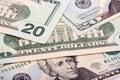American twenty dollars, a background Royalty Free Stock Photo